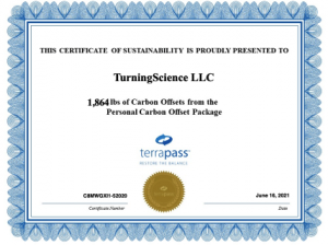 TurningScience offsets all travel carbon